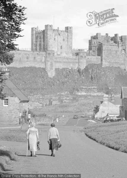 Photo of Bamburgh, Two Ladies And The Castle 1954