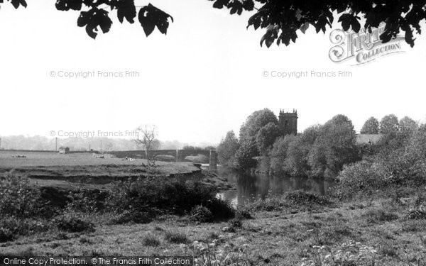Bangor Is Coed, River Dee And St Dunawd's Church c.1955