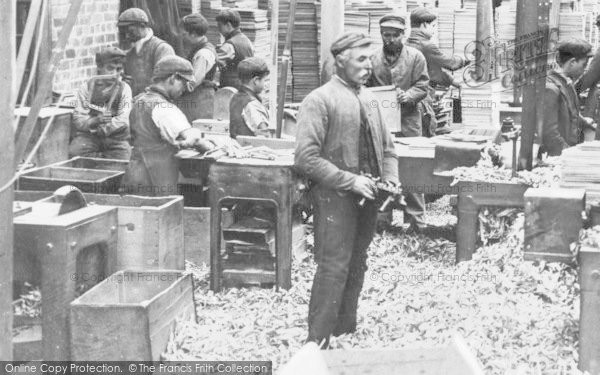 Photo of Bangor, Workers In Writing Slates Factory c.1910