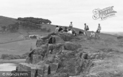 Bardon Mill, Visitors At Crag Lough On The Roman Wall c.1960