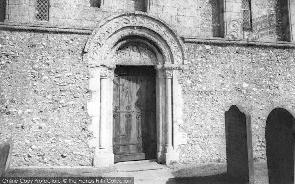 Photo of Barfrestone, Church, The Norman Door c.1960