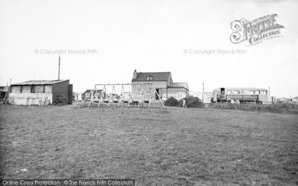 Photo of Barmston, The Beach Cafe And Swings c.1955