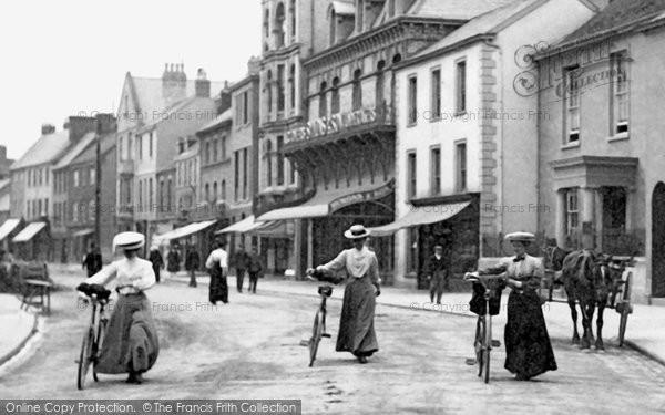 Barnstaple, Cyclists In Boutport Street 1906