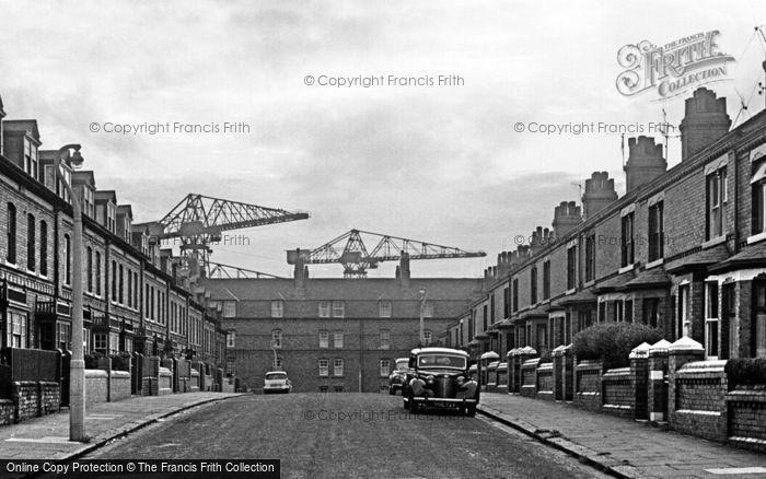 Photo of Barrow In Furness, Cranes At End Of Street 1963