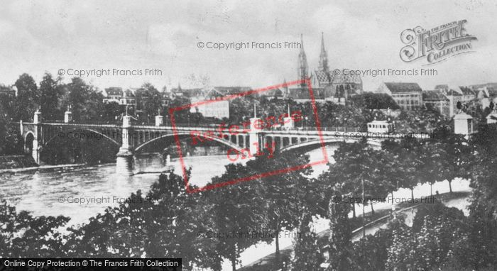 Photo of Basel, Bridge And Cathedral c.1930
