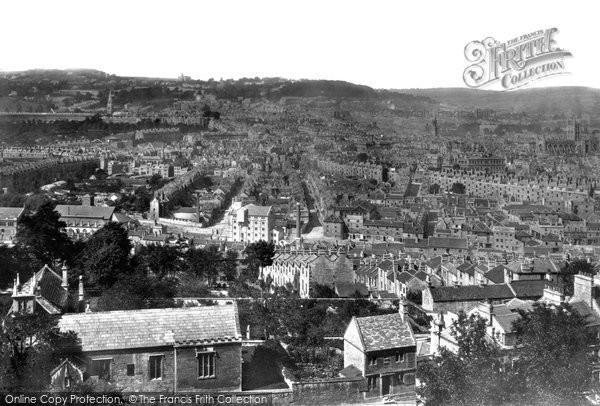 Bath, from Beechen Cliff (abbey right) 1876