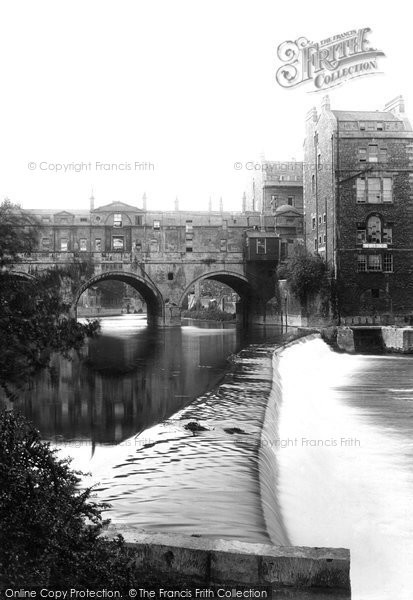 Bath, Pulteney Bridge And Weir 1914