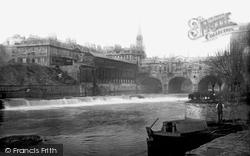 Bath, The Weir And Pulteney Bridge 1890