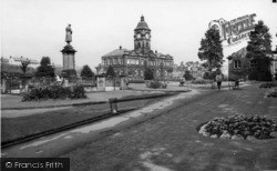 Batley, The Park And Library c.1965