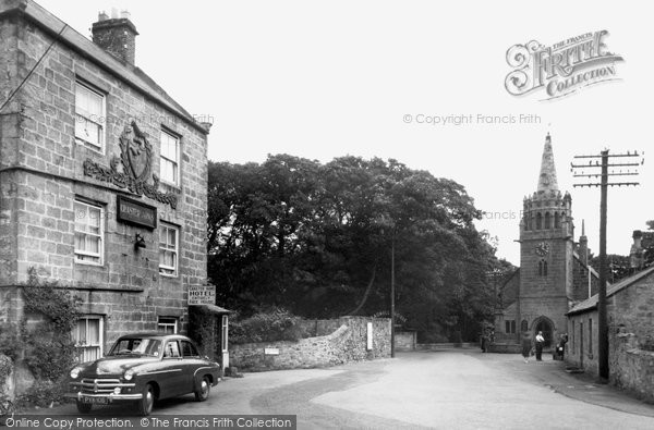 Photo of Beadnell, Craster Arms and Church c1955, ref. B550039
