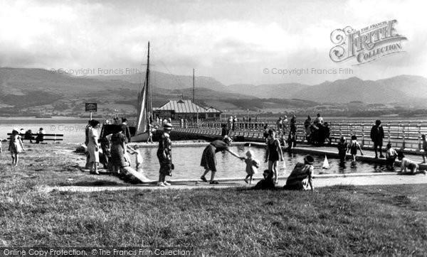 Beaumaris, Children's Paddling Pool And Mountains c.1955