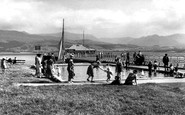Beaumaris, Children's Paddling Pool And Mountains c.1955