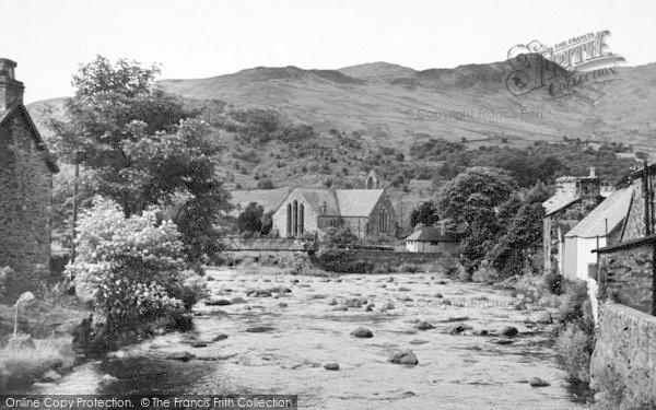 Photo of Beddgelert, Gwynant River And Church c.1955