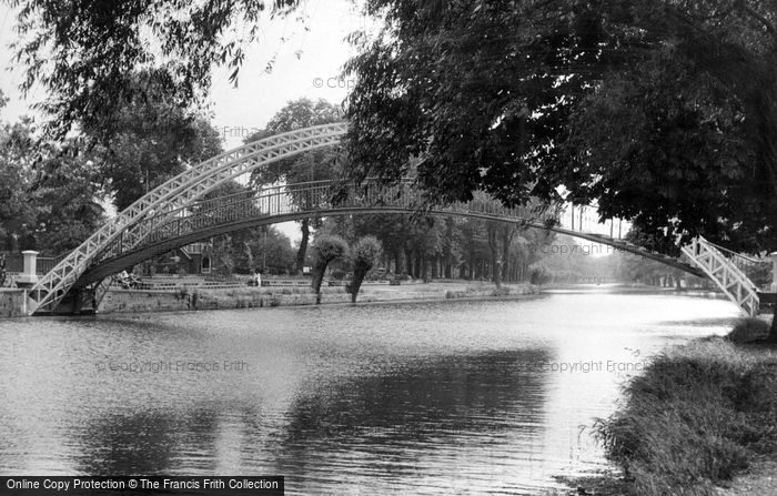 Photo of Bedford, the Great Ouse and Suspension Bridge c1955