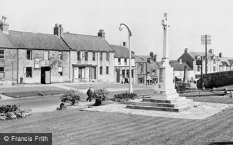 Bedlington, the War Memorial and Front Street West c1955