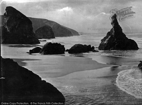 Photo of Bedruthan Steps, Queen Bess Rock 1887