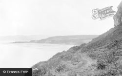 Benllech Bay, The Purple Mountain From Cliff Walk c.1935