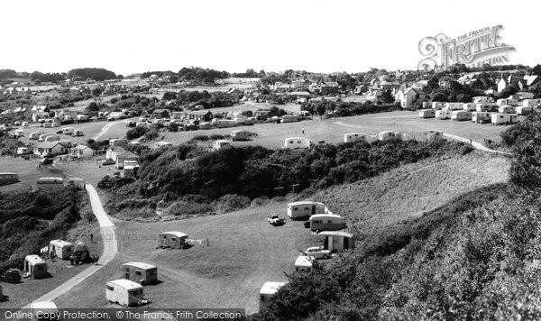 Photo of Benllech Bay, view of Caravan Sites c1960