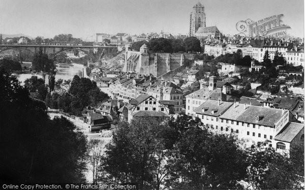 Photo of Berne, Cathedral And Kirchenfeldbrucke c.1885
