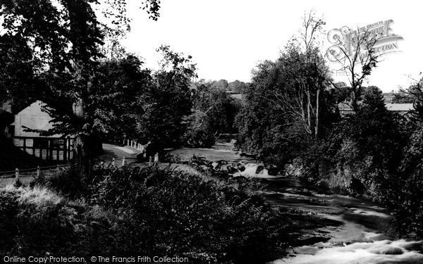 Berriew, The River Rhiew c.1950