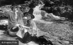 Betws Garmon, Girls In Welsh Costume At Nant Mill Falls c.1963