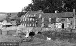 Bibury, Swan Hotel And Bridge c.1960