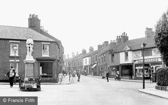 Biddulph, High Street and War Memorial c1955