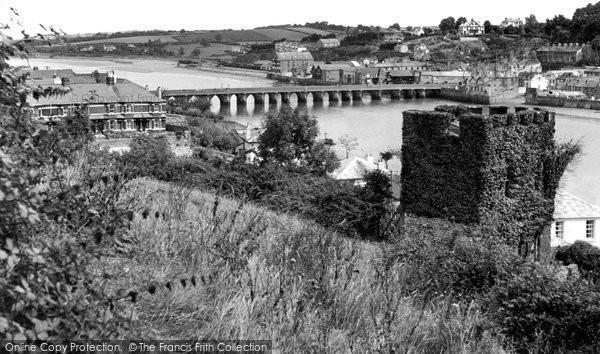 Bideford, Long Bridge And The Tower c.1955