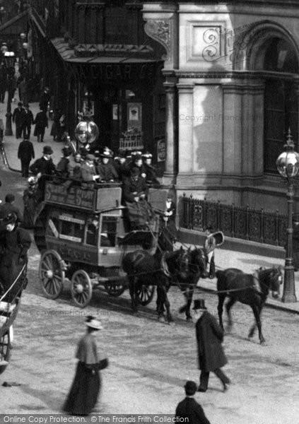 Birmingham, Horse Drawn Bus In New Street 1896
