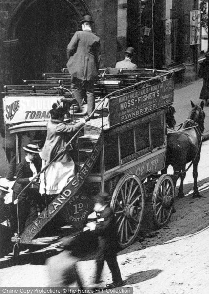 Birmingham, Horse Drawn Bus, New Street 1890