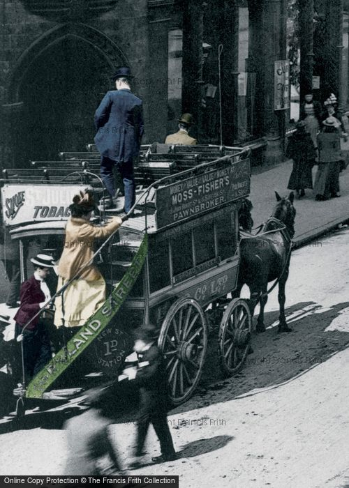 Photo of Birmingham, Horse Drawn Bus, New Street 1890, ref. B100001vp