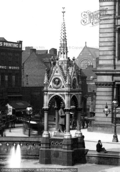 Photo of Birmingham, The George Dawson Statue By The Chamberlain Memorial Fountain 1896