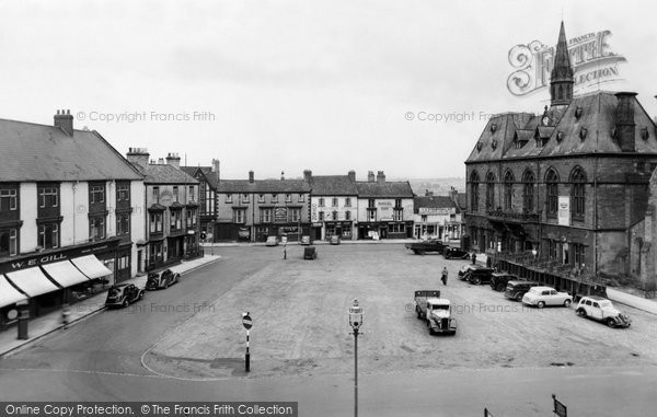 Photo of Bishop Auckland, Market Place and Town Hall c1955, ref. b102007
