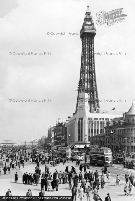 Blackpool, The Tower And Central Promenade c.1955