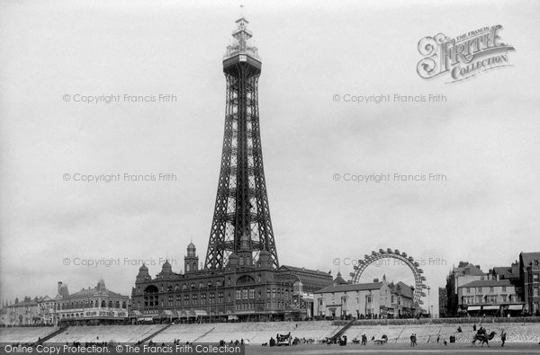 Photo of Blackpool, The Tower From The  Sands 1896