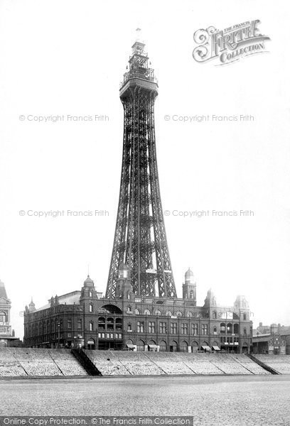 Blackpool, Tower From Sands 1894
