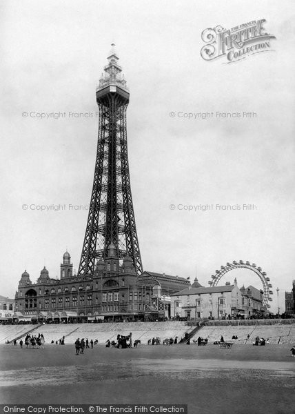Blackpool, Tower From Sands 1896