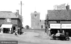 Bletchingley, St Mary's Church And Post Office c.1955