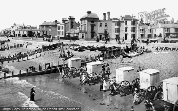 Bognor Regis, The Beach With Bathing Huts 1890