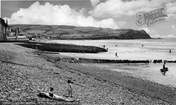 Borth, Beach And Headland c.1960