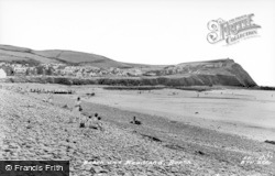 Borth, Beach And Headland c.1960
