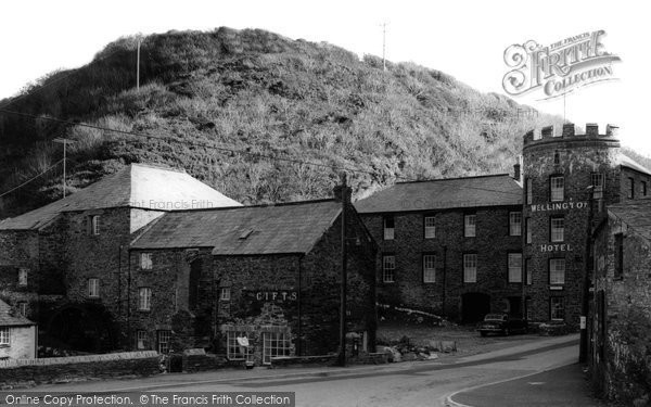 Boscastle,the Wellington Hotel and Old Mill c1960,Cornwall