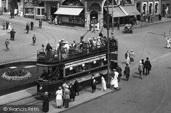 Bournemouth, A Tram In The Square 1922