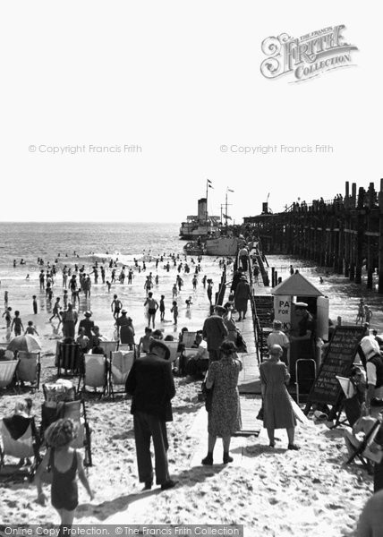 Bournemouth, East Cliff Beach c.1950