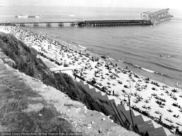 Bournemouth, The Beach From West Cliff c.1955