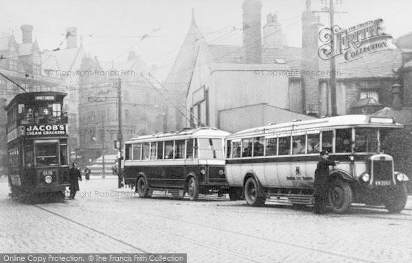Photo of Bradford, Buses In Thornton Road c.1930