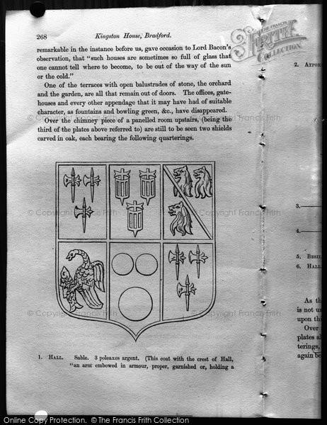 Bradford On Avon, Kingston House Coat Of Arms c.1900