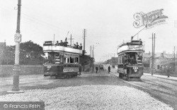 Bradford, Open Top Trams At Tong Cemetery c.1904