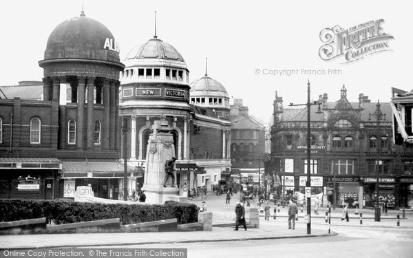 Photo of Bradford, the Alhambra and New Memorial c1950