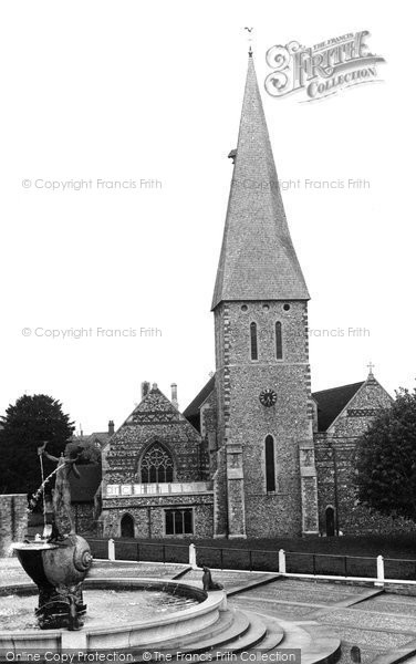 Photo of Braintree, the Church and Fountain c1955